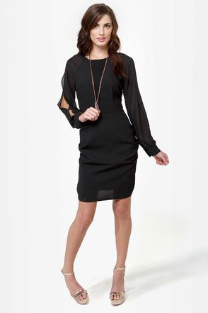 Little Black Dress - Long Sleeve Dress - Cold Shoulder Dress - $65.00 - I'd style this differently, but love!