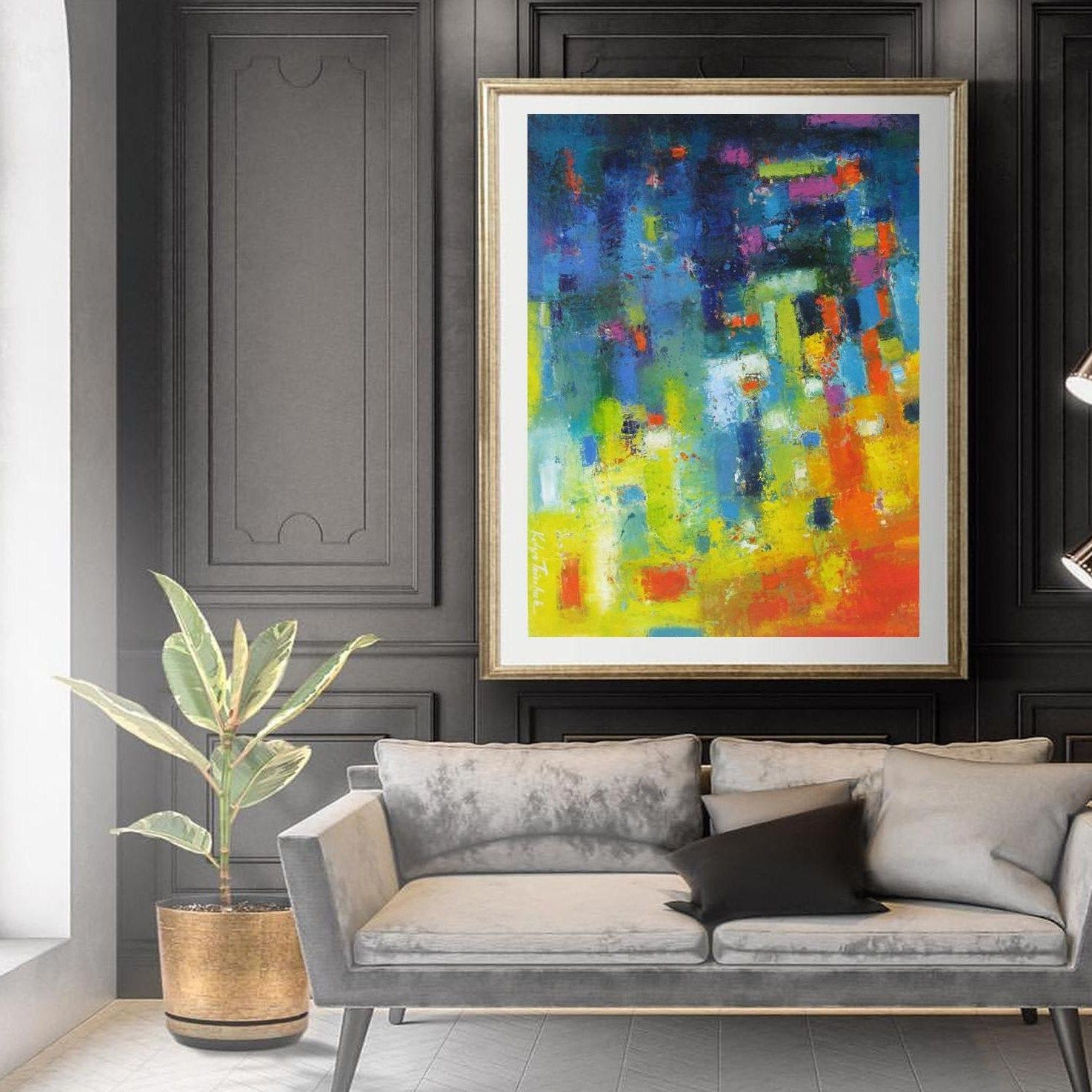 Large multi colored bright abstract wall art large wall art