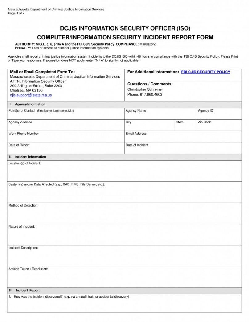 With this incident log template, you get in your grasp the perfect tool to use in the making of incident logs for your institution. Browse Our Image Of Cyber Security Incident Report Template For Free Incident Report Report Template Security Officer