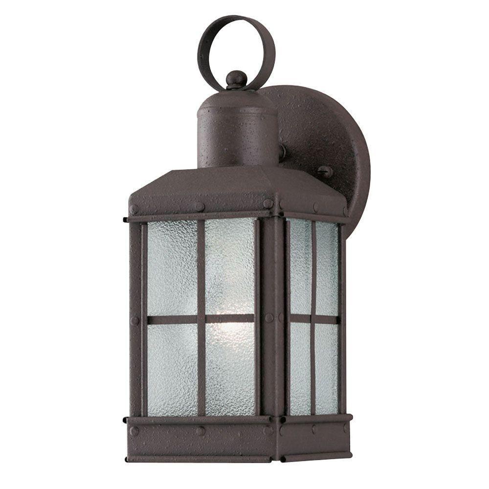 1 light outdoor textured rust patina wall lantern with ice glass 1 light outdoor textured rust patina wall lantern with ice glass panels aloadofball Choice Image