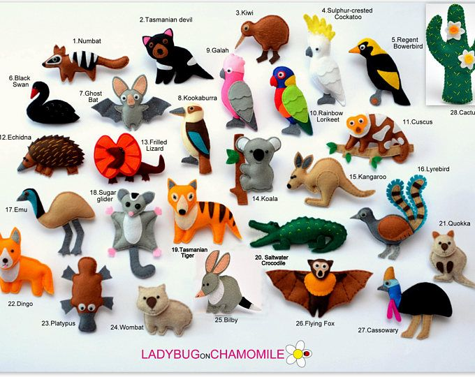 Felt Australian Animals Magnets Price Per 1 Item Make Your Own Set