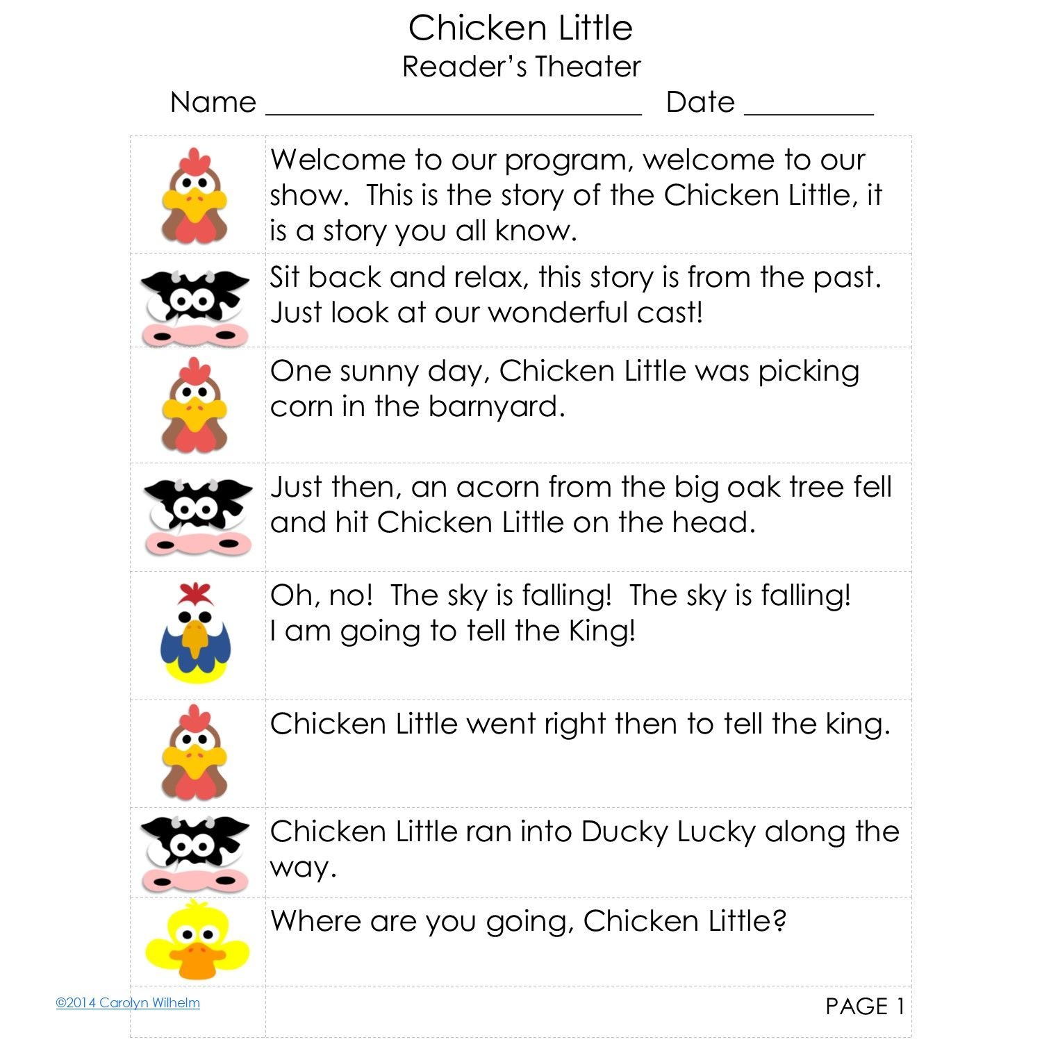 Gentle Version Of Chicken Little Reader S Theater Script Free From Wise Owl Factory Readers Theater Scripts Readers Theater Social Scripts [ 1500 x 1500 Pixel ]