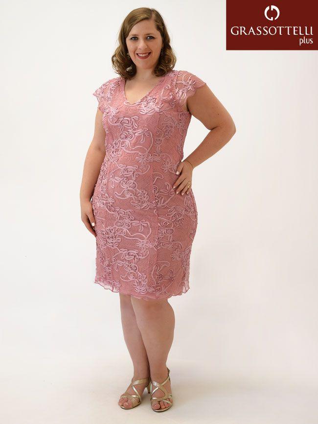 e942bfe354 Vestido Festa Curto c  Manga Tule Bordado Rosa Plus Size