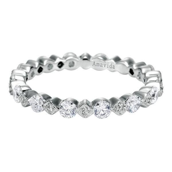 0.87 ct F-G SI Diamond Eternity Band Wedding Band In 18K White Gold WB3946-7W83JJ