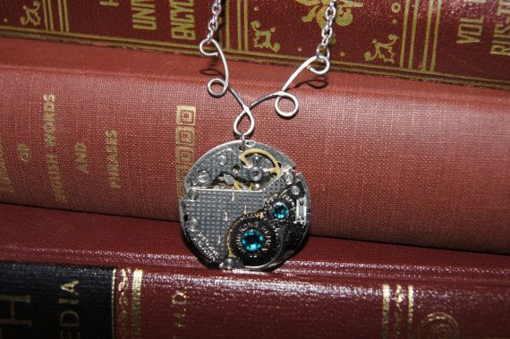 Blue crystal pocket watch parts necklace on etsy