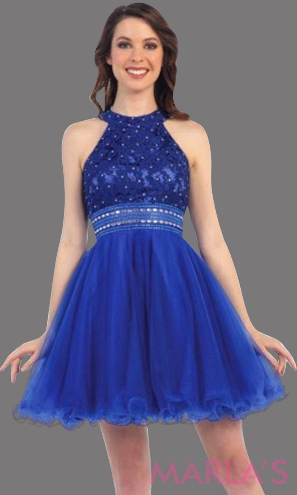 824699b24a2 Short royal blue high neck graduation dress with beaded waist. It has puffy  tulle skirt. Perfect for grade 8 grad