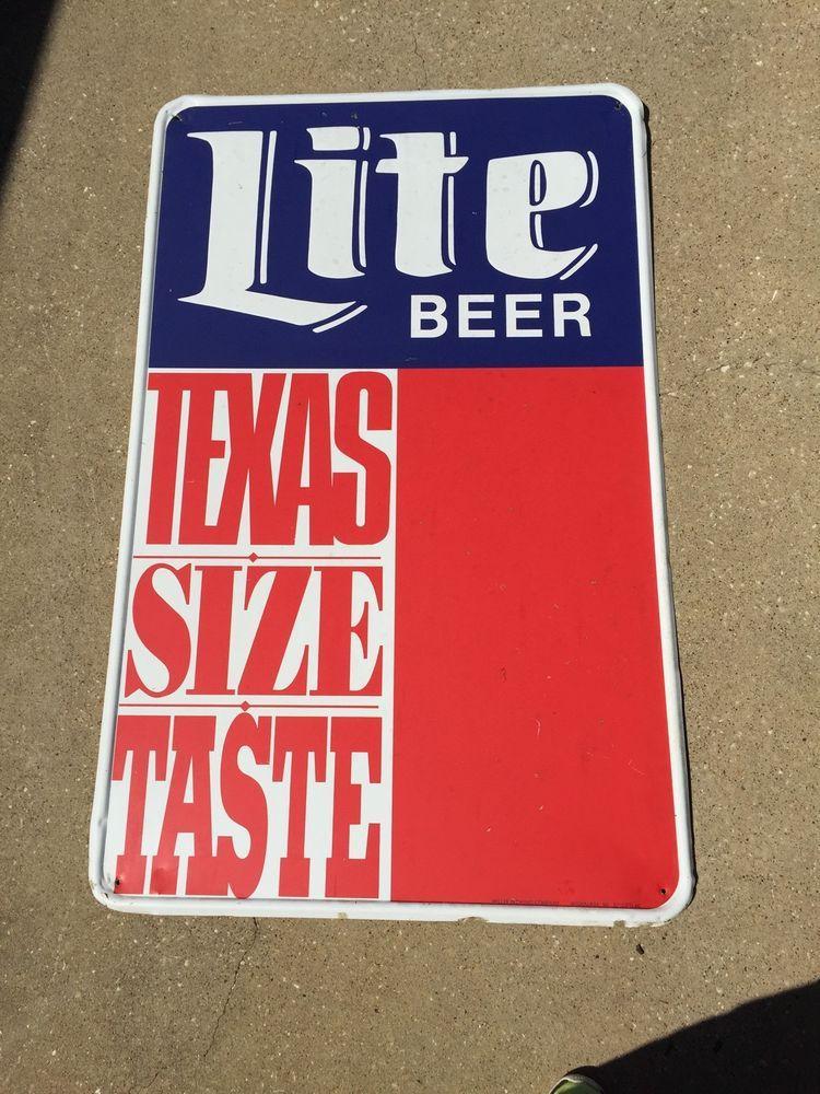 Vintage Miller Lite Beer Texas Size Taste Metal Sign Bar