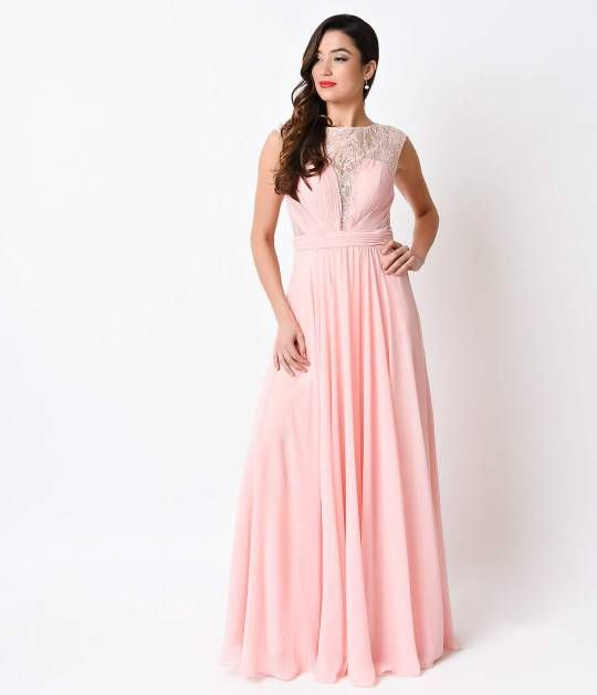 Blush Pink Chiffon Sexy Long Gown for Prom 2018