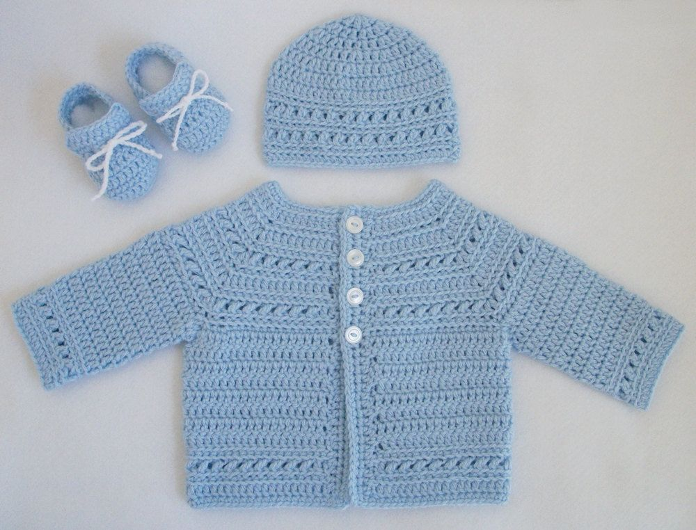 Crochet Baby Sweater And Hat Pattern : Crocheted Baby Boy Sweater/Hat/Booties Set in Pale Blue ...
