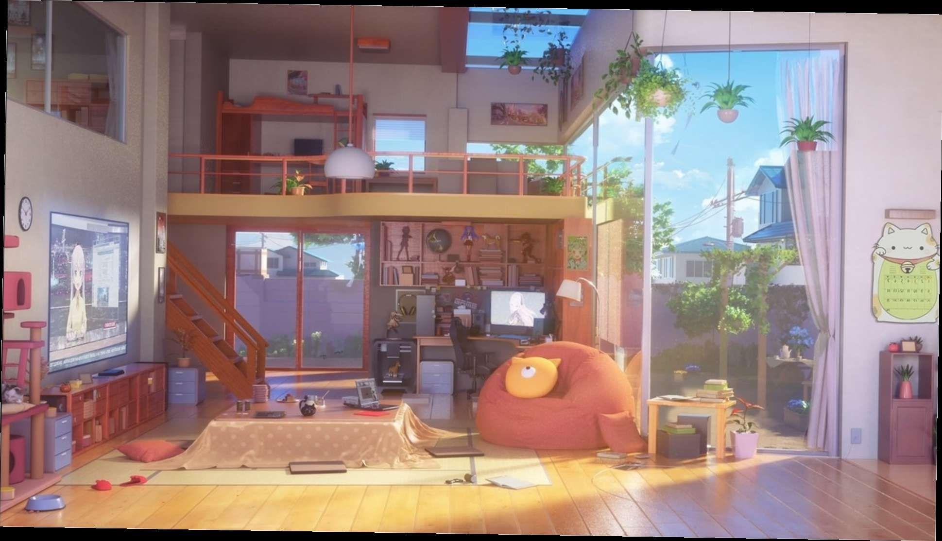 30 Anime Backgrounds Anime Living Room Hd Wallpaper Background Image 1920x1080 Id 995155 Anime Background Wallpaper Backgrounds Background Images