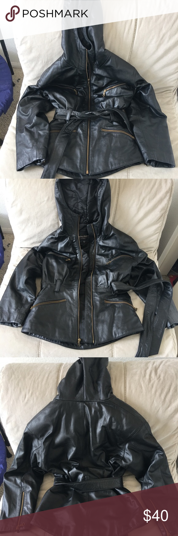 Wilsons Leather hooded jacket Leather jacket with hood