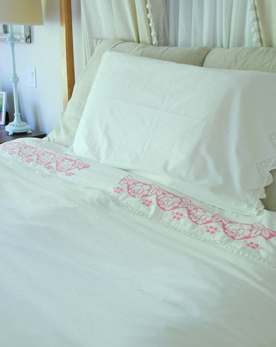 Hey, I found this really awesome Etsy listing at https://www.etsy.com/listing/238091787/vintage-bedding-flat-sheet-pink-cross