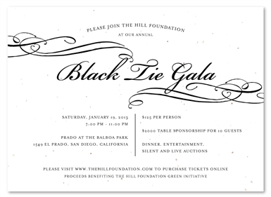 Unique Invitations You Can Plant ~ Black Tie Gala in 2019