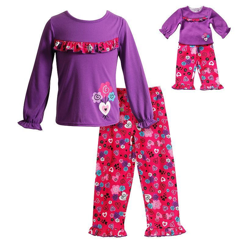 Girls 4-14 Dollie & Me Heart Ruffle Pajama Set, Girl\'s, Size: 10 ...
