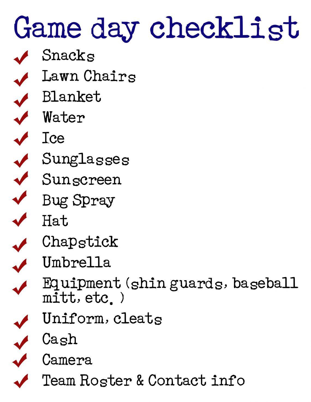 Game Day Checklist The Organized Mom Team Mom Baseball Baseball Tournament Team Mom Football