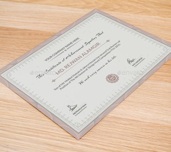 Customizable Certificate Template Certificate Of Participation