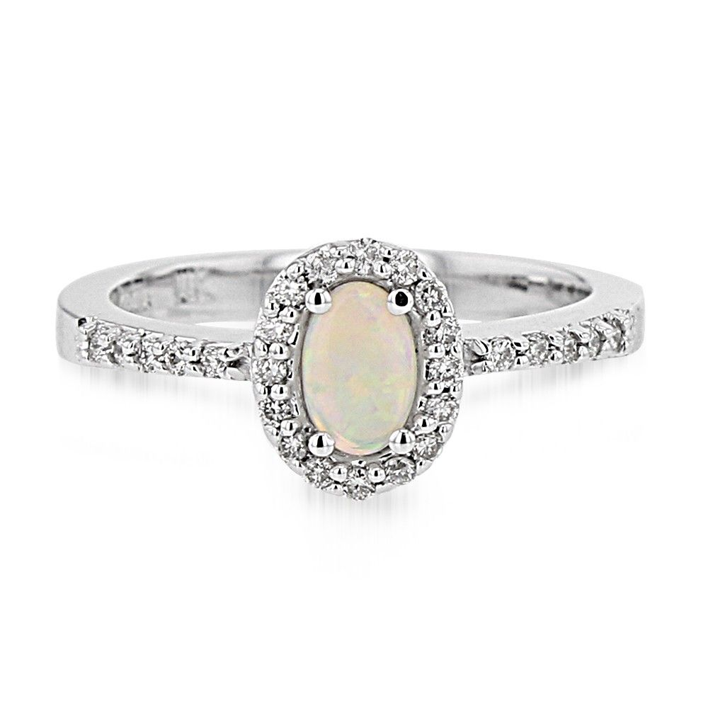 Opal & Diamond Halo Ring