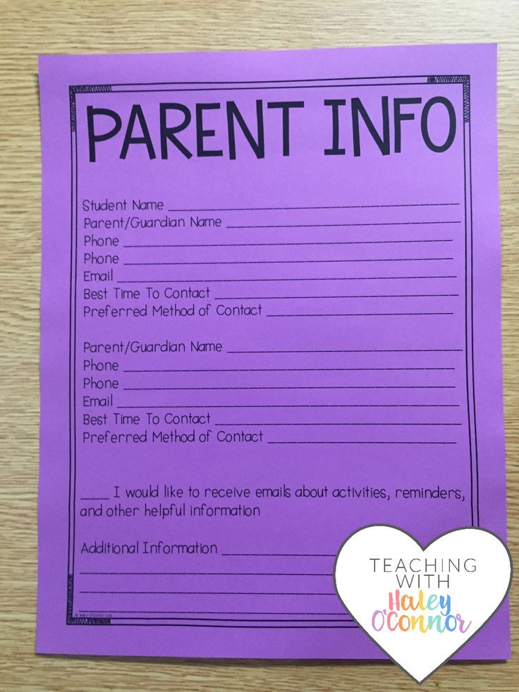 Parent Information Sheet for Teachers by Haley O'Connor