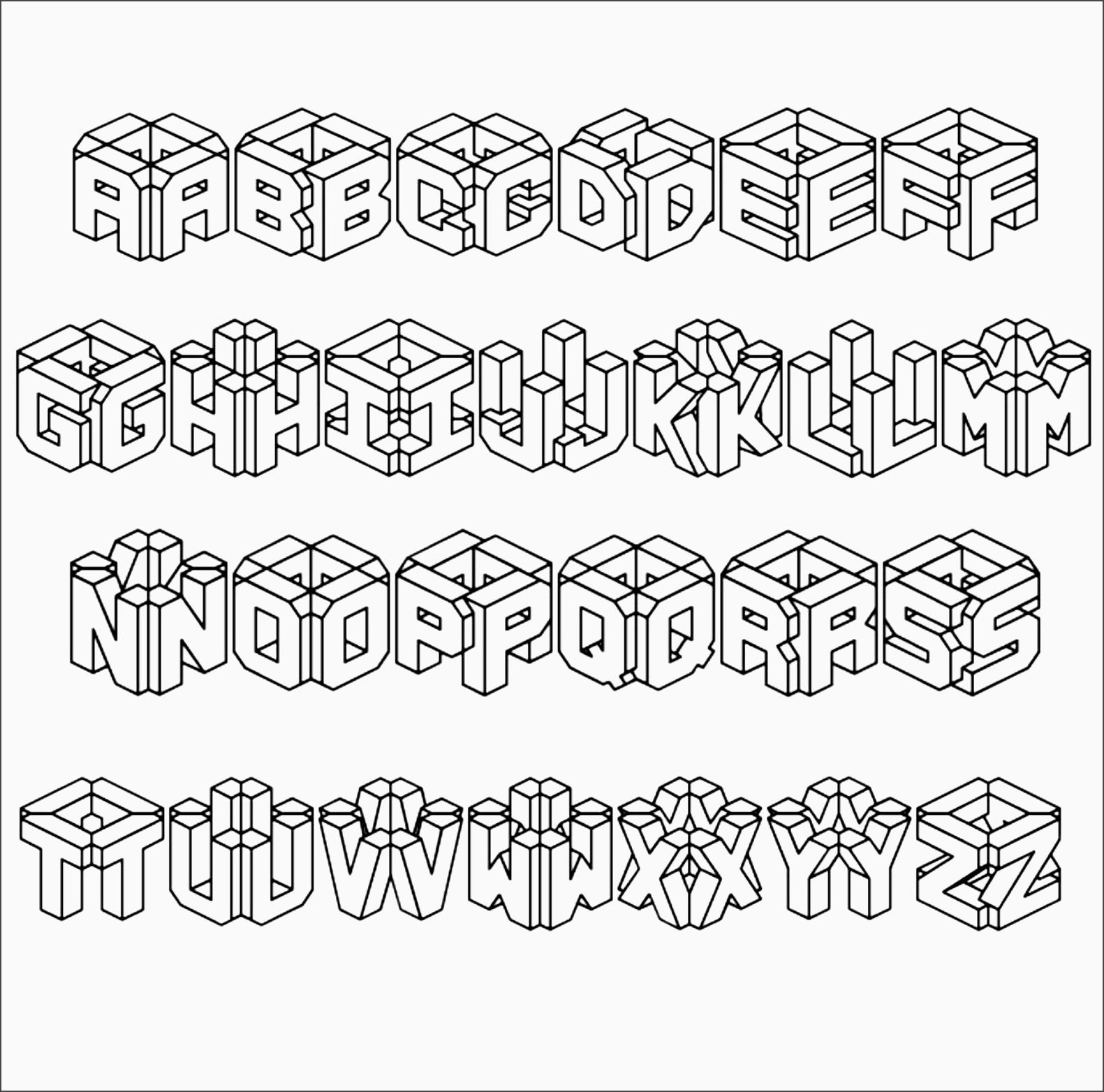 3d graffiti bubble letters graffiti alphabet bubble letters az a z to coloring pages