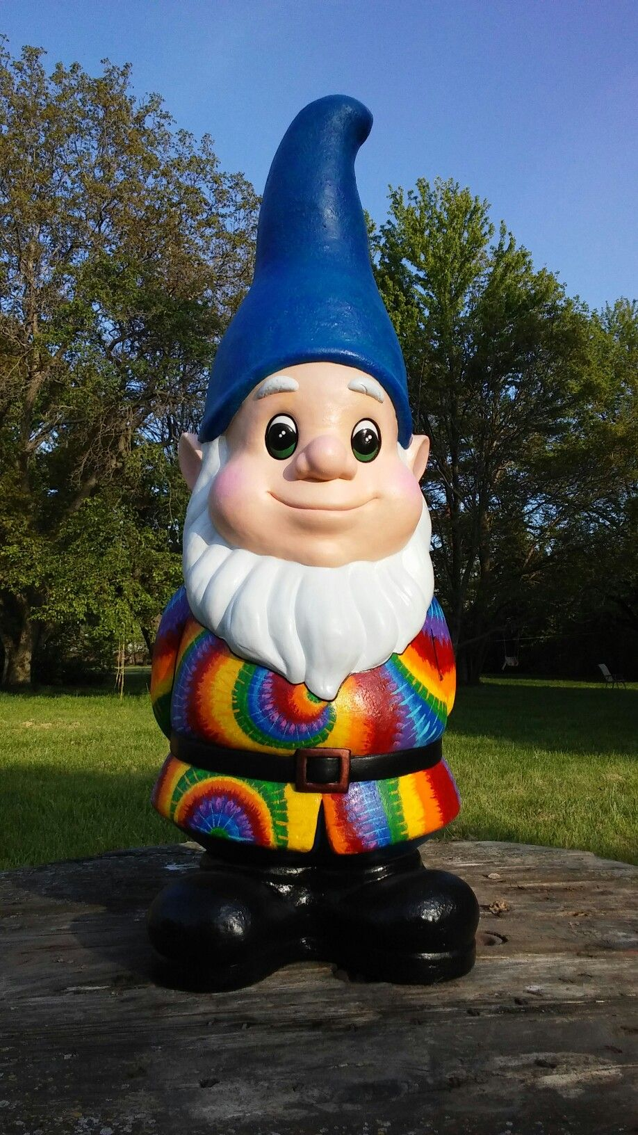3 Foot Tall Tie Dye Garden Gnome Repainted Generic Which Had Faded Down To Almost No Color After Only One Season
