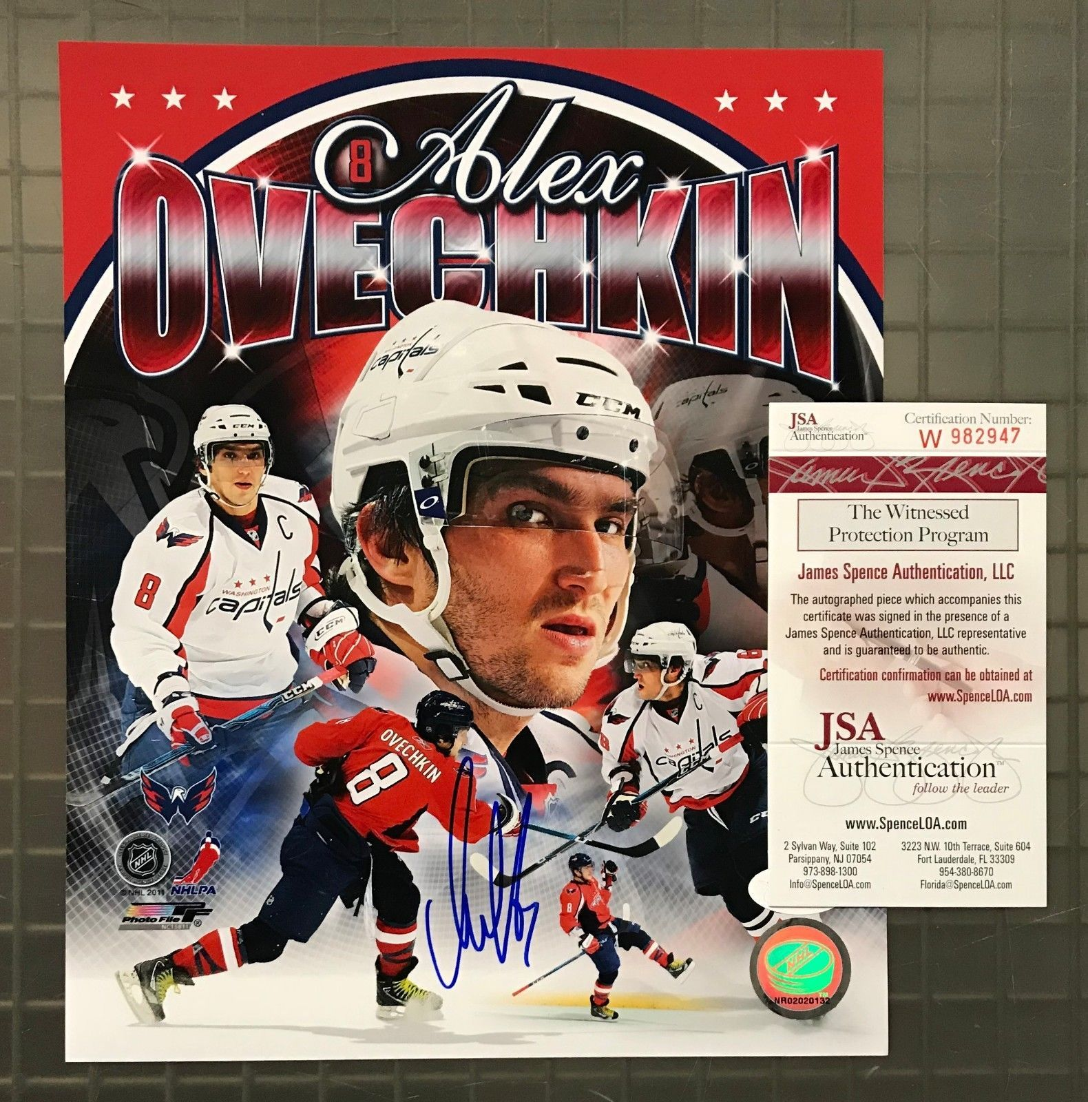 8d98f71b101 Alexander Ovechkin Signed 8x10 Photo Autographed AUTO JSA WITNESSED COA  Capitals  Hockey