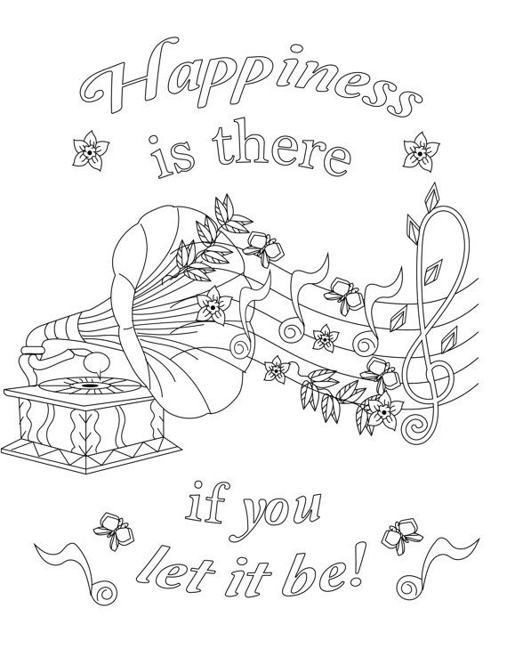 grown up coloring pages inspirational | Happiness is there if you let it be : Inspirational Quotes ...