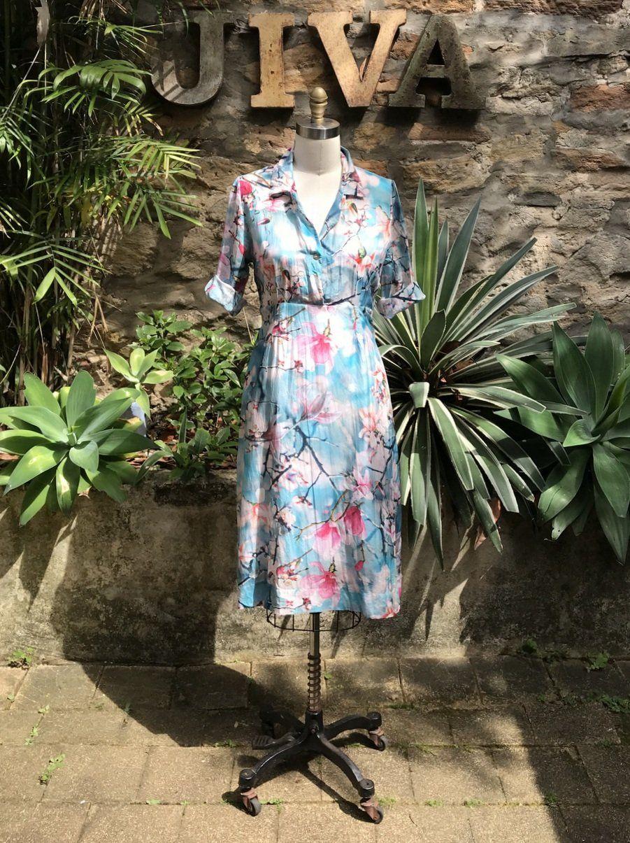 dff23978fe Jiva Silk Cotton 50 s Dress - Tulip Magnolia Print – Jiva Clothing