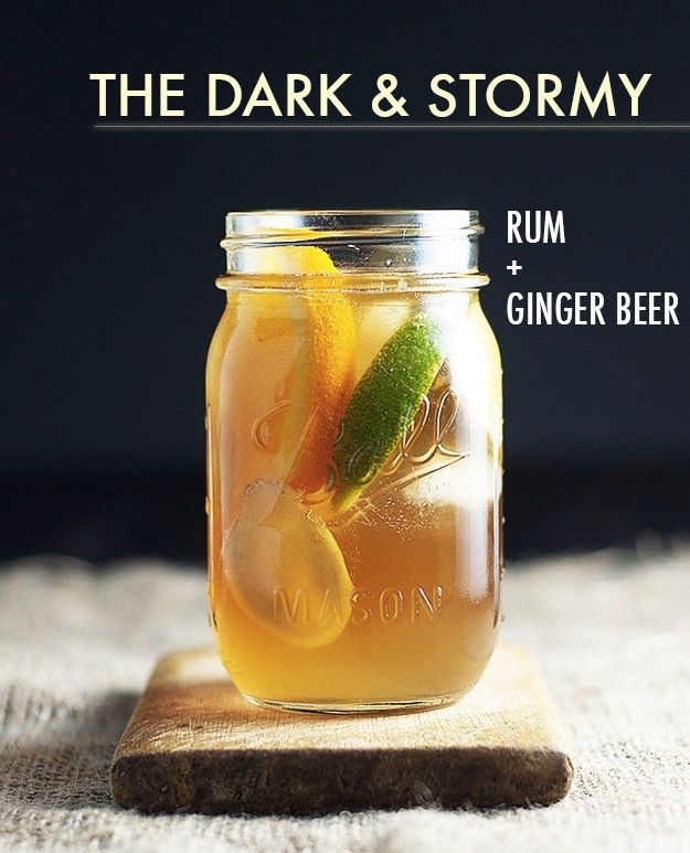 Top one or two shots of rum with ginger beer (Reed's is great) and garnish with a lime wedge.16 Two-Ingredient Cocktails Anyone Can Make