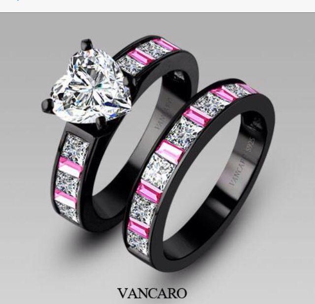 Me Want This Black Wedding Ring Sets Black Engagement Ring Black Wedding Rings