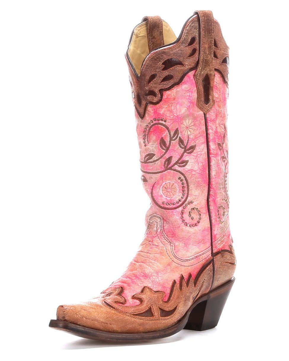 Corral Women\'s Fluorescent Pink/Cognac Collar and Wing Tip Boot ...