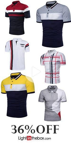 Men's Patchwork Polo Shirt Collar Red / Light gray / Navy Blue #fitness #workout