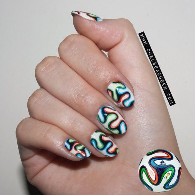 I got inspired by the soccer ball ⚽ http://chelseaqueen.com/world-cup-nails/  | Uñas | Pinterest | Soccer ball, Cups and Soccer n… - Getnail-d: World Cup Nails! I Got Inspired By The Soccer Ball