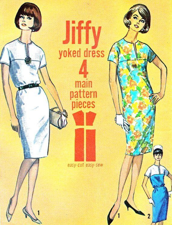 1960s Dress Pattern Simplicity 5875 Jiffy Yoked by paneenjerez, $12.00