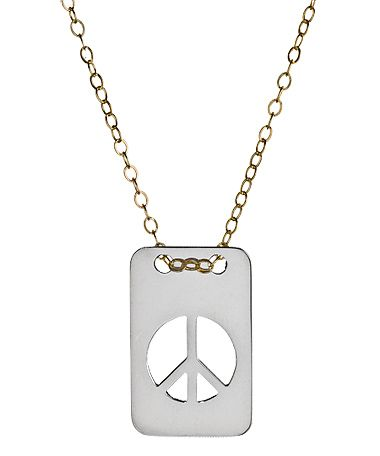 Miriam Merenfeld Sterling Silver Peace Tag Necklace  Price: $125.00