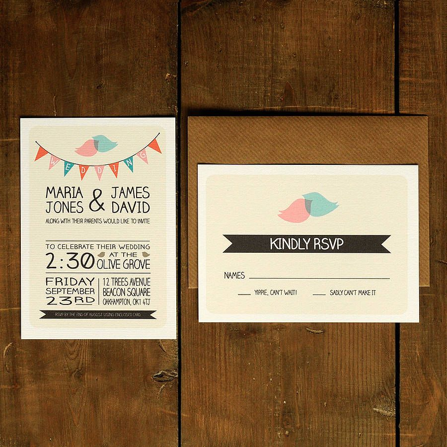 Whimsical Lovebirds Wedding Invitation | Invitation suite, Wedding ...