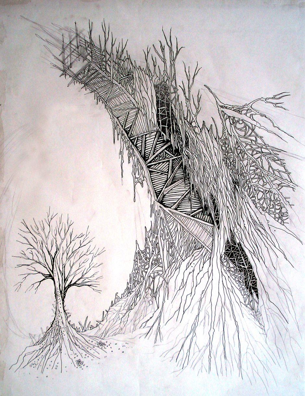 Arbol/puente, plumilla y lápiz.