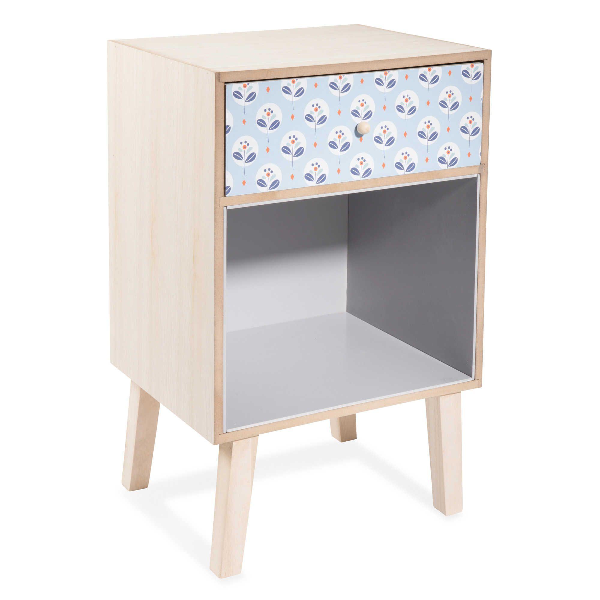 table de chevet avec tiroir en bois bleu l 25 cm paolo label paris home. Black Bedroom Furniture Sets. Home Design Ideas