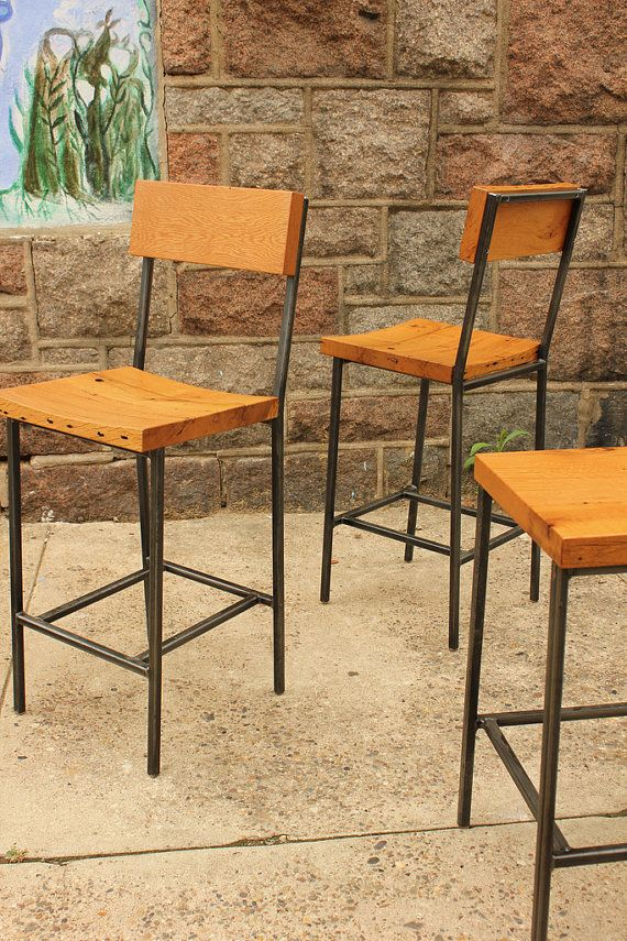 bar stool or bench with reclaimed wood seats steel legs custom rh pinterest com