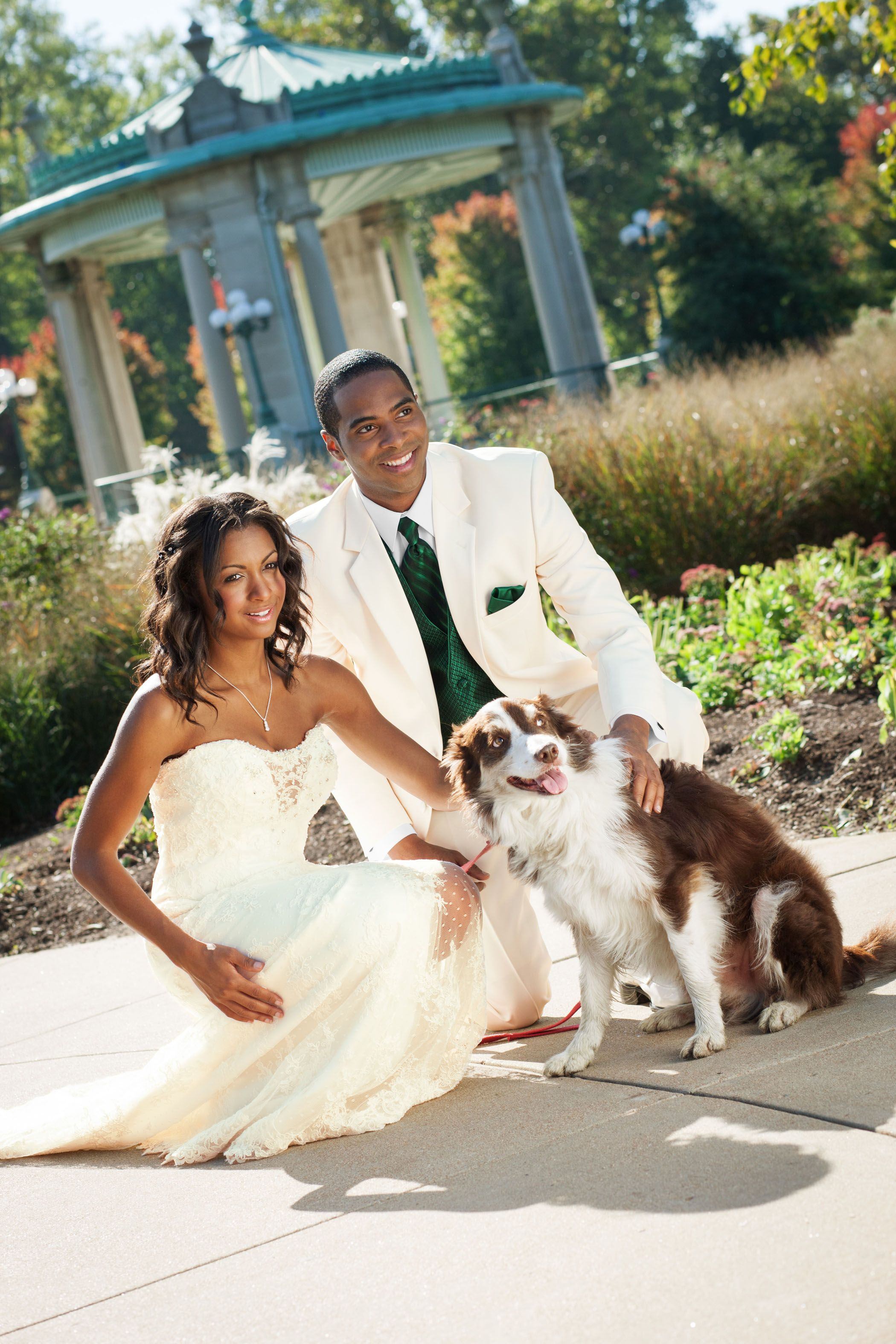 Ivory and green - very nice color combination - tuxedo available ...