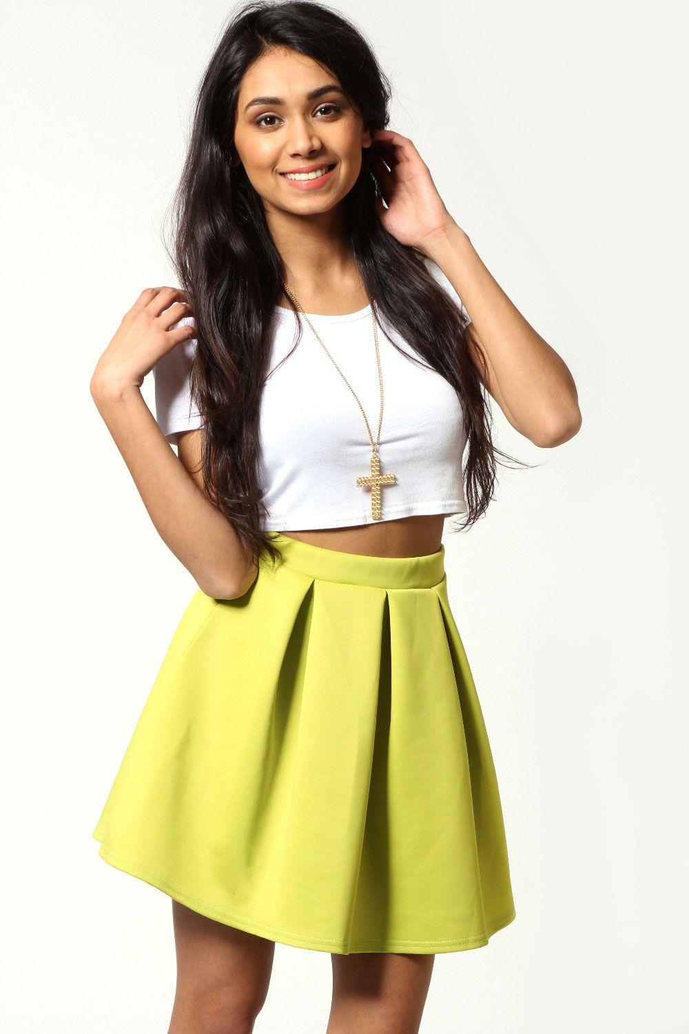 Fashion style Yellow Neon skater skirt pictures for girls