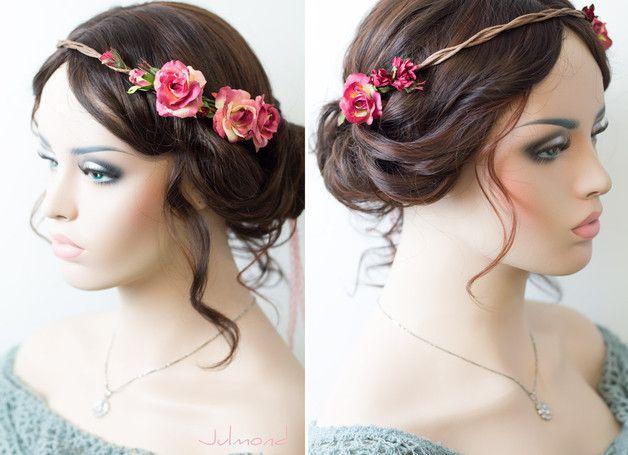 Braut haarband frisur  Haarschmuck Blumenkranz Rot Braut Hochzeit Rosen | Blumenkranz ...