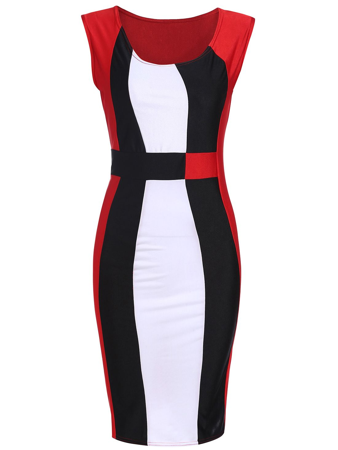 3b5d6c718646f ärmelloses Kleid mit Color-Blocking 11.66 | schwarz-weis-rot ...