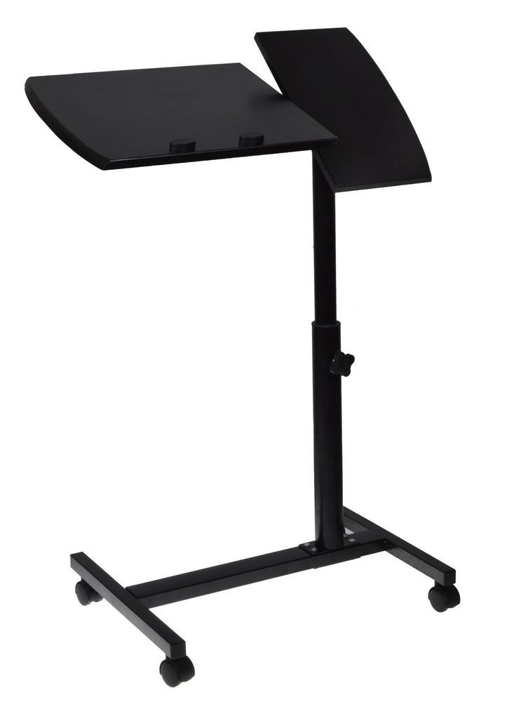 Adjustable Angle U0026 Height Rolling Laptop Desk Table Stand Tray Over Bed  Hospital