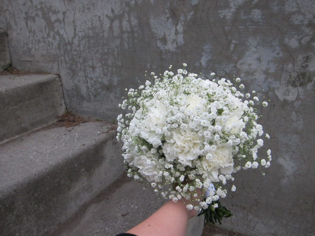 Classic Bridal Bouquet Of White Carnations And Baby S Breath Designed B Simple Wedding Bouquets Carnation Bridesmaid Bouquet Babys Breath Bouquet Bridesmaids