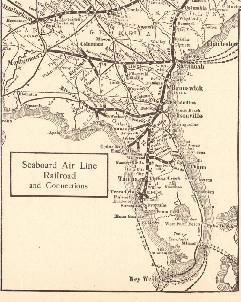 1914 Antique Seaboard Air Line Railroad Map Vintage Railway Map - Railroad-us-map