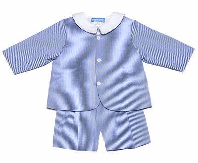 Monday's Child Boys Dressy Royal Blue Seersucker Suspender Shorts / Eton Suit