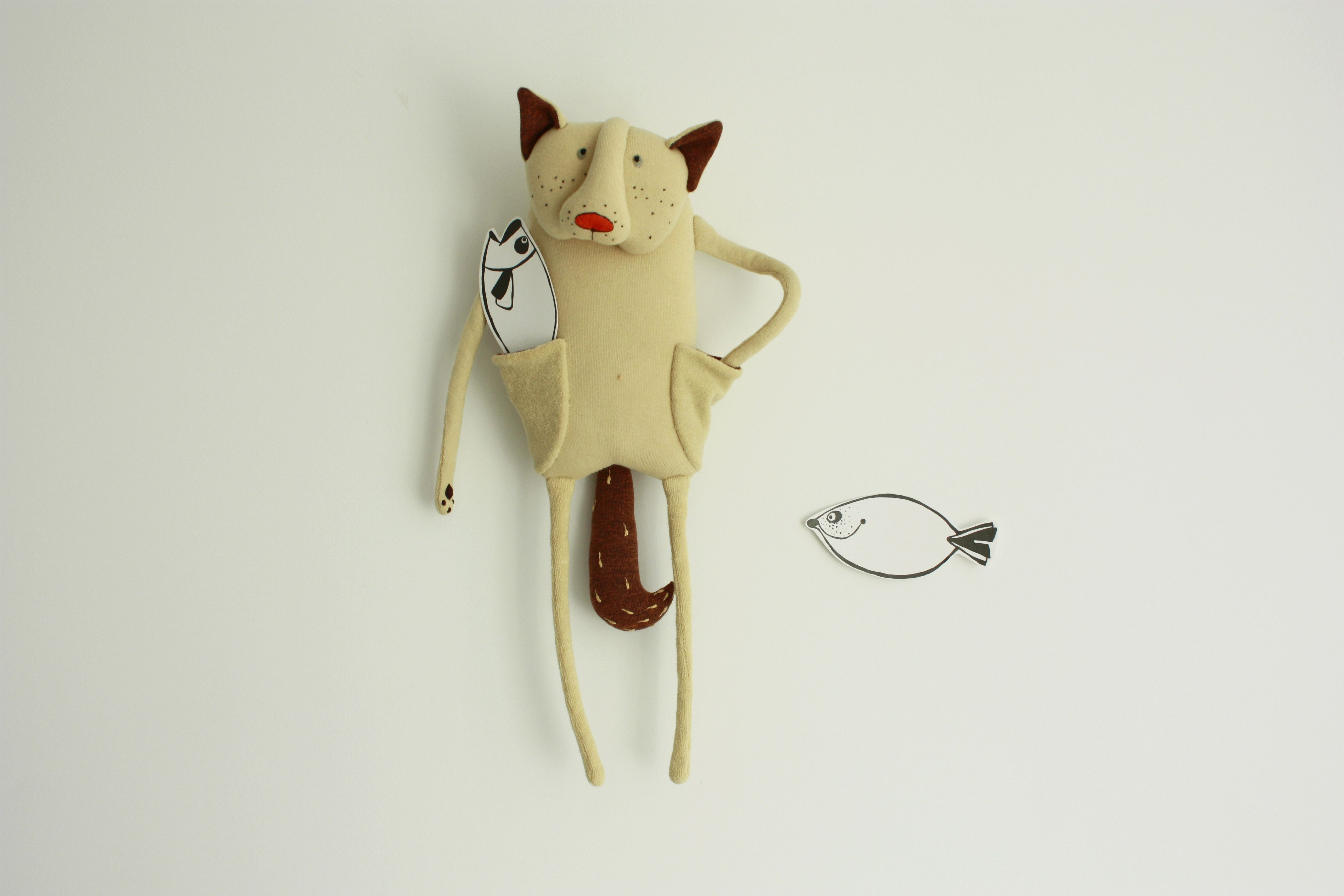 Birthday toys images  Itus fishing time Sandy cat plush toy with to pockets and brown