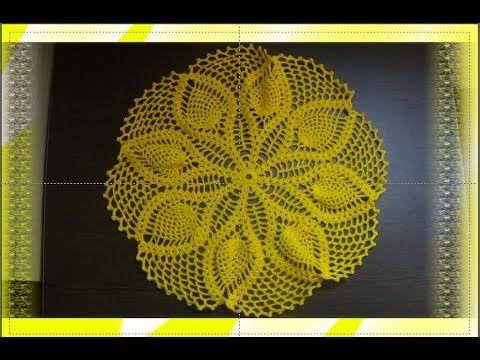 Toalha redonda de croche de abacaxi