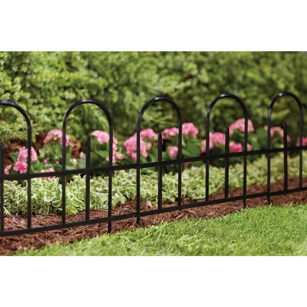 Vigoro Round Top 16in Steel Garden Fence 51165 The Home Depot In 2020 Garden Fence Garden Fence Landscaping