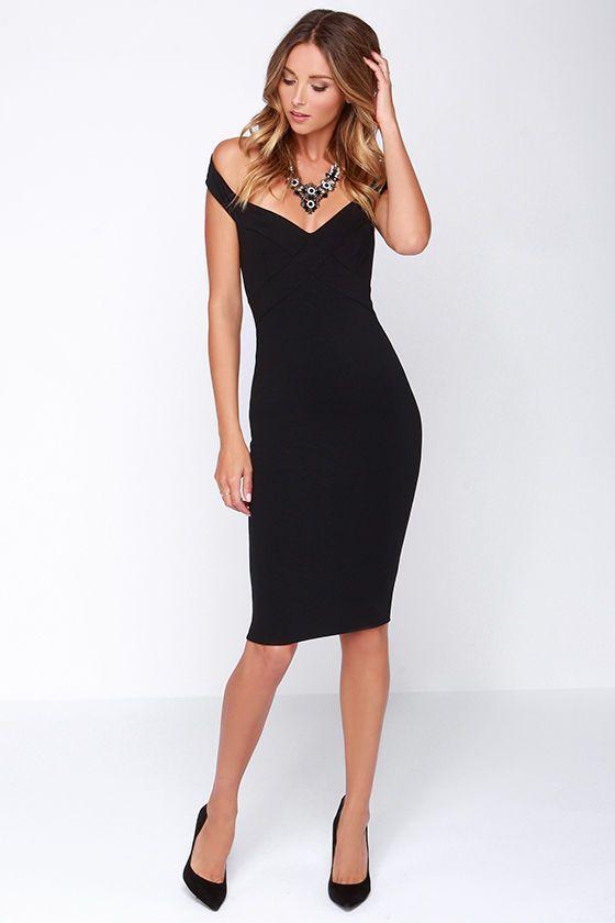 LULUS Exclusive X Marks the Spot Black Midi Dress 35f027e2d4